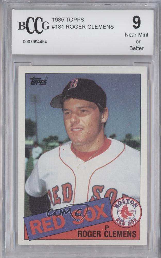 Details About 1985 Topps 181 Roger Clemens Bccg Near Mint Boston Red Sox Rc Baseball Card