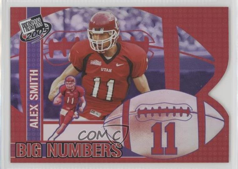 free shipping a622a fe3aa Details about 2005 Press Pass Big Numbers #BN19 Alex Smith Utah Utes Rookie  Football Card