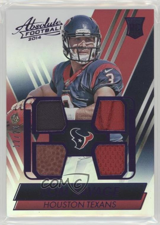 check out 0ffae 698cd Details about 2014 Panini Absolute Rookie Jersey Ball Glove Shoe #TS Tom  Savage Houston Texans