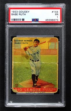 1933 Goudey Big League Chewing Gum - R319 #144 - Babe Ruth [PSA 1 PR]
