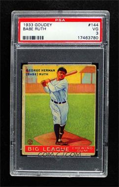 1933 Goudey Big League Chewing Gum - R319 #144 - Babe Ruth [PSA 3 VG]