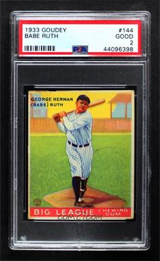 1933 Goudey Big League Chewing Gum - R319 #144 - Babe Ruth [PSA 2 GOOD]