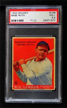 1933 Goudey Big League Chewing Gum - R319 #149 - Babe Ruth [PSA 3.5 VG+]