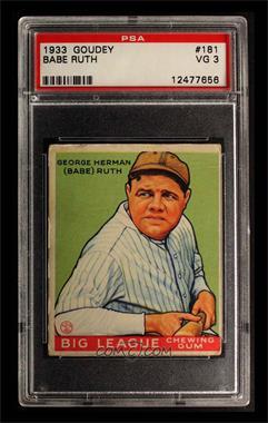 1933 Goudey Big League Chewing Gum - R319 #181 - Babe Ruth [PSA3VG]