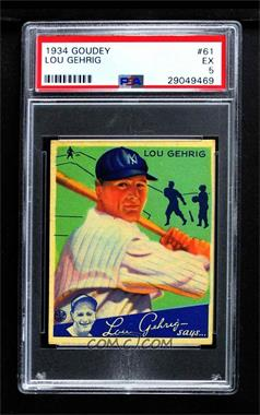 1934 Goudey Big League Chewing Gum - R320 #61 - Lou Gehrig [PSA 5 EX]