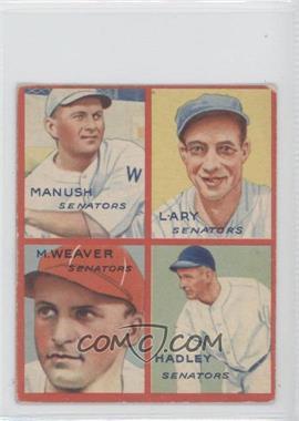 1935 Goudey 4-in-1 - R321 #2C - Heinie Manush, Lyn Lary, Monte Weaver, Bump Hadley [GoodtoVG‑EX]