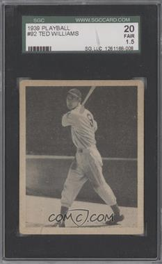 1939 Play Ball - [Base] #92 - Ted Williams [SGC 20]