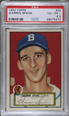 1952 Topps - [Base] #33.1 - Warren Spahn (Red Back) [PSA4.5VG‑EX+]