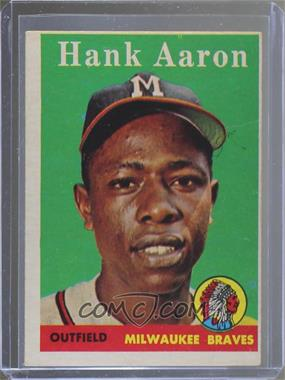 1958 Topps - [Base] #30.1 - Hank Aaron (player name in white)