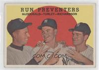 Run Preventers (Gil McDougald, Bob Turley, Bobby Richardson) (white back) [Good…