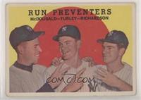 Run Preventers (Gil McDougald, Bob Turley, Bobby Richardson) (white back) [Good…