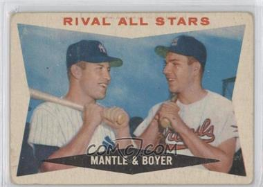 1960 Topps - [Base] #160 - Rival All-Stars (Mickey Mantle, Ken Boyer) [Good to VG‑EX]