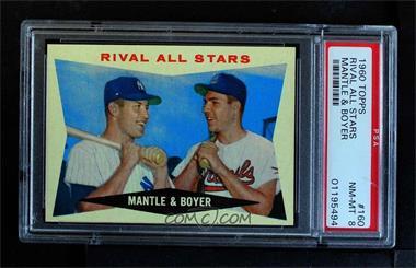 1960 Topps - [Base] #160 - Rival All-Stars (Mickey Mantle, Ken Boyer) [PSA8NM‑MT]