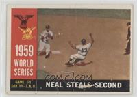 World Series Game #1: Neal Steals Second (Charlie Neal) (White Back) [Poor]