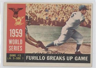 1960 Topps - [Base] #387.1 - World Series Game #3: Furillo Breaks Up Game (Carl Furillo) (White Back)