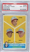Cincinnati Reds Coaches (Reggie Otero, Cot Deal, Wally Moses) [PSA 8 …