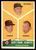 San Francisco Giants Coaches (Wes Westrum, Salty Parker, Bill Posedel) [VG …