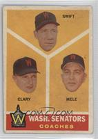 Washington Senators Coaches (Bob Swift, Ellis Clary, Sam Mele) [Poorto&nb…