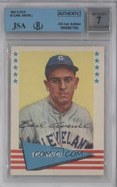 1961 Fleer Baseball Greats - [Base] #5 - Earl Averill [BVG/JSA Certified Auto]