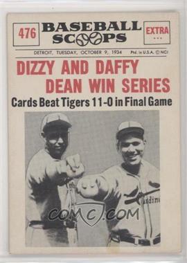 1961 Nu Cards Baseball Scoops Base 476 Dizzy Dean