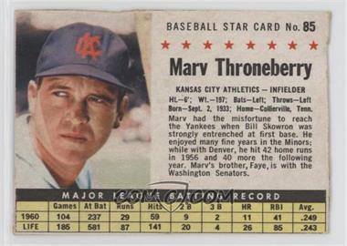 1961 Post - [Base] #85.1 - Marv Throneberry (Hand Cut) [GoodtoVG‑EX]
