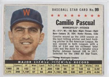 1961 Post - [Base] #99.1 - Camilo Pascual (Hand Cut, Minneapolis) [GoodtoVG‑EX]