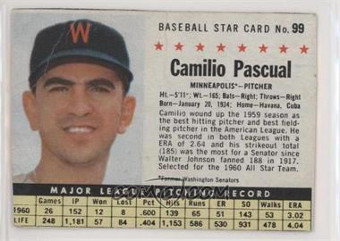 1961 Post - [Base] #99.1 - Camilo Pascual (Hand Cut, Minneapolis) [Noted]