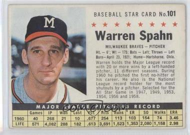 1961 Post Cereal - [Base] #101.2 - Warren Spahn (Perforated)
