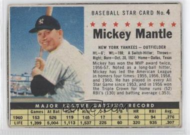 1961 Post Cereal - [Base] #4.1 - Mickey Mantle (Hand Cut)