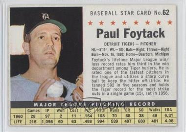 1961 Post Cereal - [Base] #62.2 - Paul Foytack (Perforated)