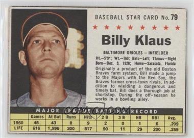 1961 Post Cereal - [Base] #79 - Billy Klaus