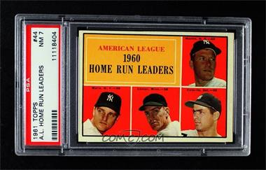 1961 Topps - [Base] #44 - American League Home Run Leaders (Mickey Mantle, Roger Maris, Jim Lemon, Rocky Colavito) [PSA7NM]