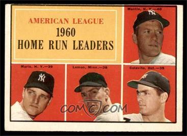 1961 Topps - [Base] #44 - American League Home Run Leaders (Mickey Mantle, Roger Maris, Jim Lemon, Rocky Colavito) [VG]