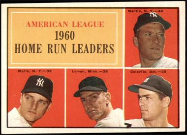 1961 Topps - [Base] #44 - American League Home Run Leaders (Mickey Mantle, Roger Maris, Jim Lemon, Rocky Colavito) [EX]