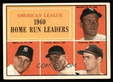 1961 Topps Base 44 American League Home Run Leaders Mickey