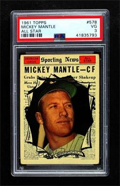 1961 Topps - [Base] #578 - Mickey Mantle [PSA 3 VG]