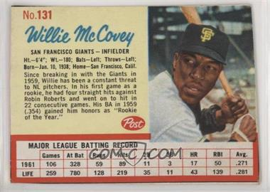 1962 Post - [Base] #131 - Willie McCovey