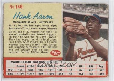 1962 Post - [Base] #149 - Hank Aaron