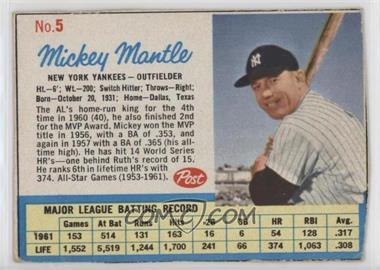 1962 Post - [Base] #5.1 - Mickey Mantle
