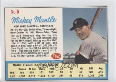 1962 Post - [Base] #5.2 - Mickey Mantle (Post logo on back)