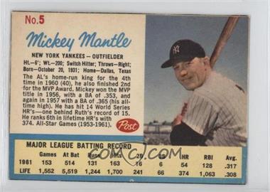 1962 Post - [Base] #5.2 - Mickey Mantle (Post logo on back)