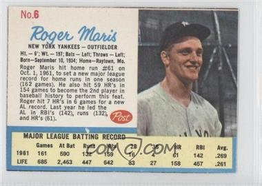 1962 Post - [Base] #6.2 - Roger Maris (Post logo on back)