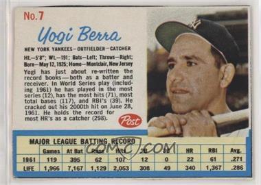 1962 Post - [Base] #7 - Yogi Berra