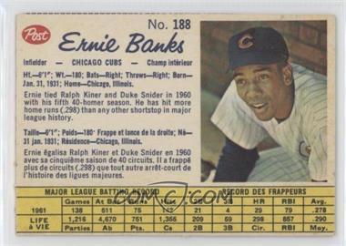 1962 Post Canadian - [Base] #188 - Ernie Banks