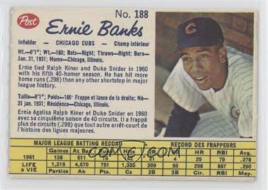 1962 Post Canadian - [Base] #188 - Ernie Banks