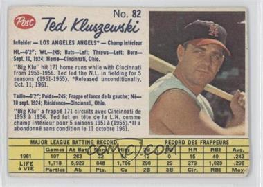 1962 Post Canadian - [Base] #82 - Ted Kluszewski