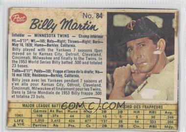 1962 Post Canadian - [Base] #84 - Billy Martin