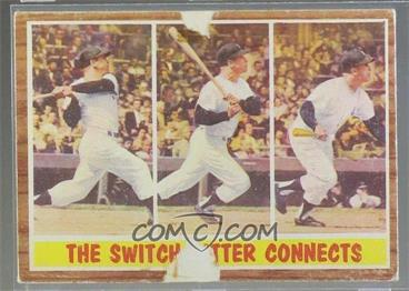 1962 Topps - [Base] #318 - The Switch Hitter Connects (Mickey Mantle) [Poor]