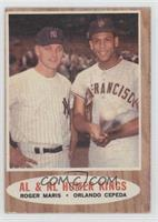 AL & NL Homer Kings (Roger Maris, Orlando Cepeda) [Good to VG‑E…