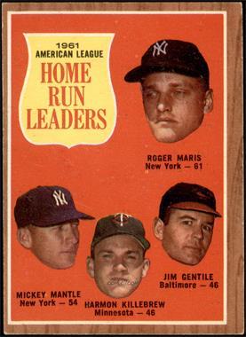 1962 Topps - [Base] #53 - 1961 American League Home Run Leaders (Roger Maris, Mickey Mantle, Harmon Killebrew, Jim Gentile) [VGEX]